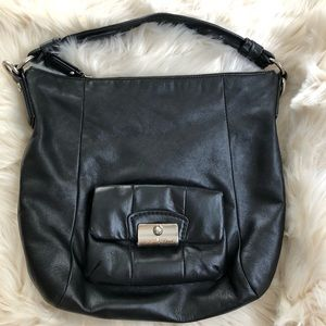 Coach black leather hobo shoulder handbag purse